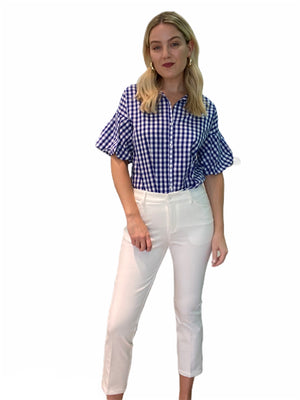 Ginghan Puff Sleeve Shirt