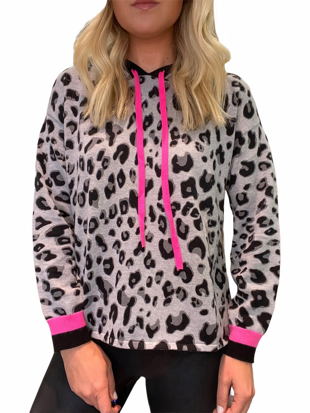 Leopard Hoodie with Hot Pink Trim