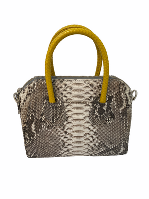 Natural Python Bag with Yellow Handle