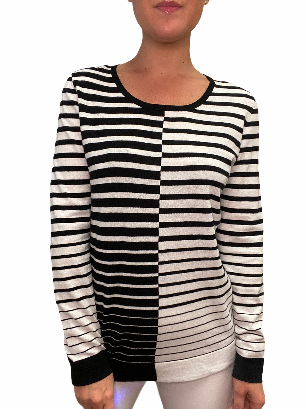 Black Stripe Crew Neck Sweater