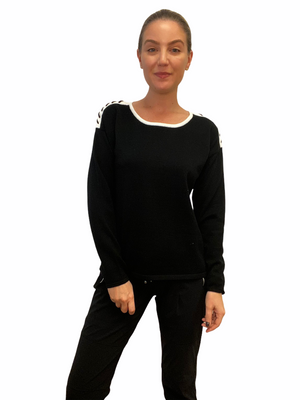 Black Whip Stitch Sweater