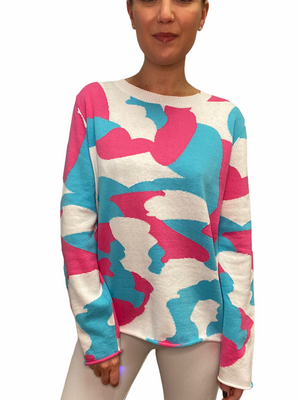 Turquoise Camo Sweater