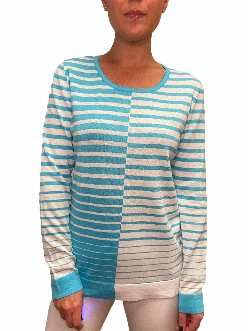 Turquoise Stripe Crew Neck Sweater