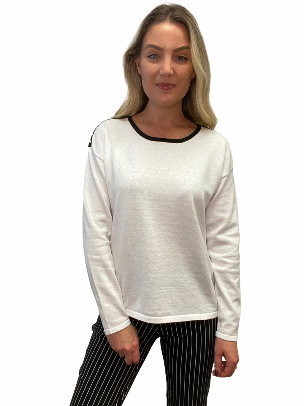White Whip Stitch Sweater