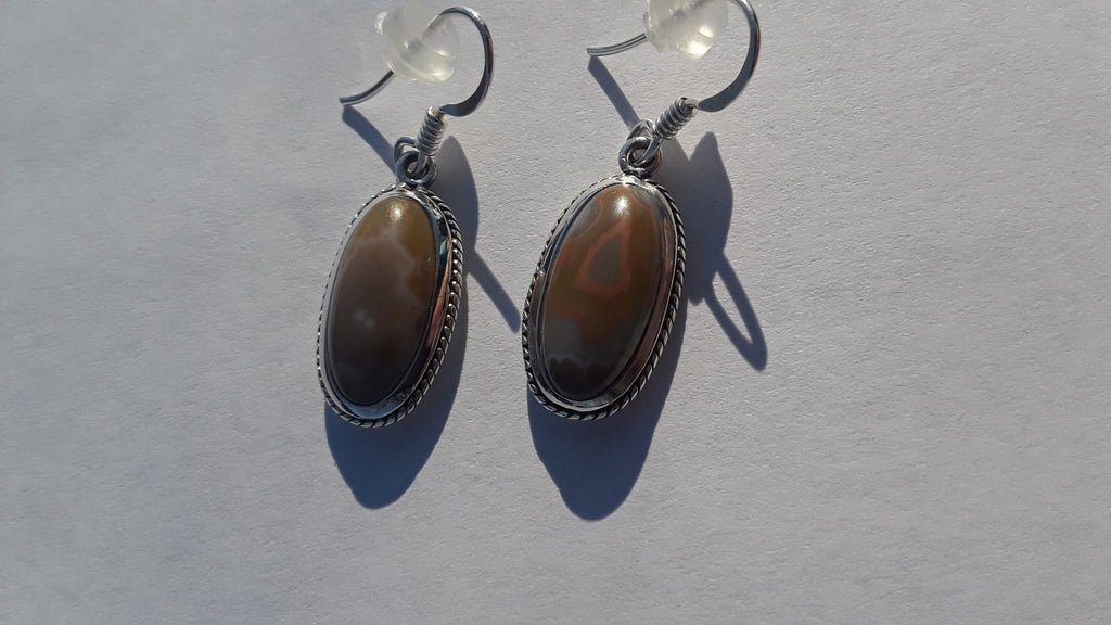 Sterling Silver Kentucky Agate Earrings