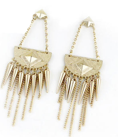 Gold Spike Tassel Earrings