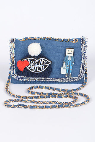 """Kiss My Patch"" Denim Purse"