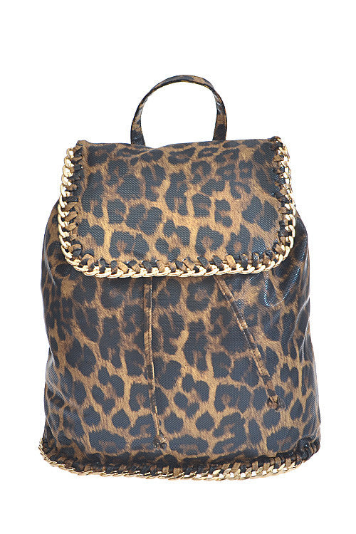 Leopard Gold Chain Backpack