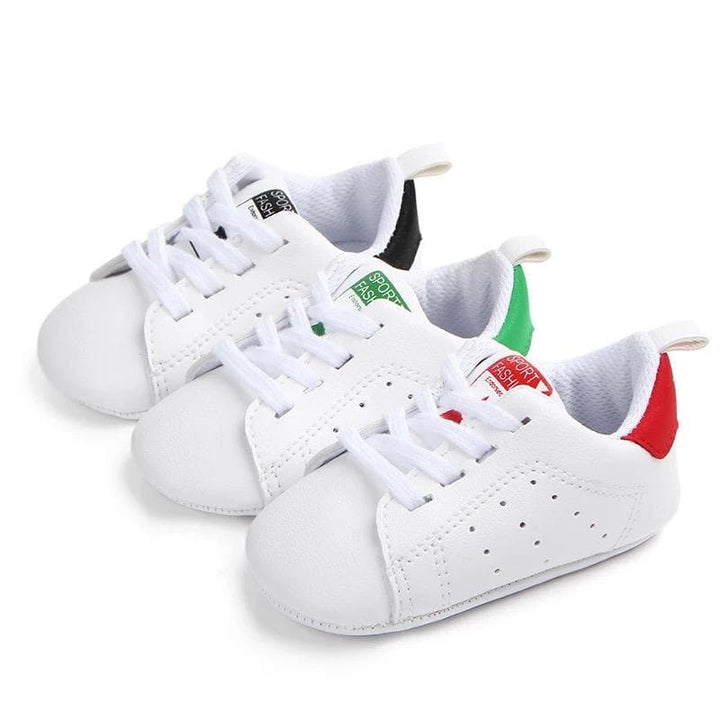 Unisex baby casual lace up white sneakers