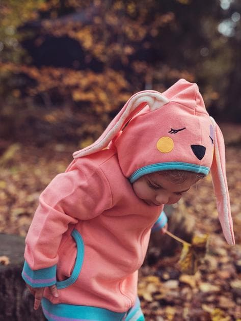 Unisex baby cotton jacket with bunny ears