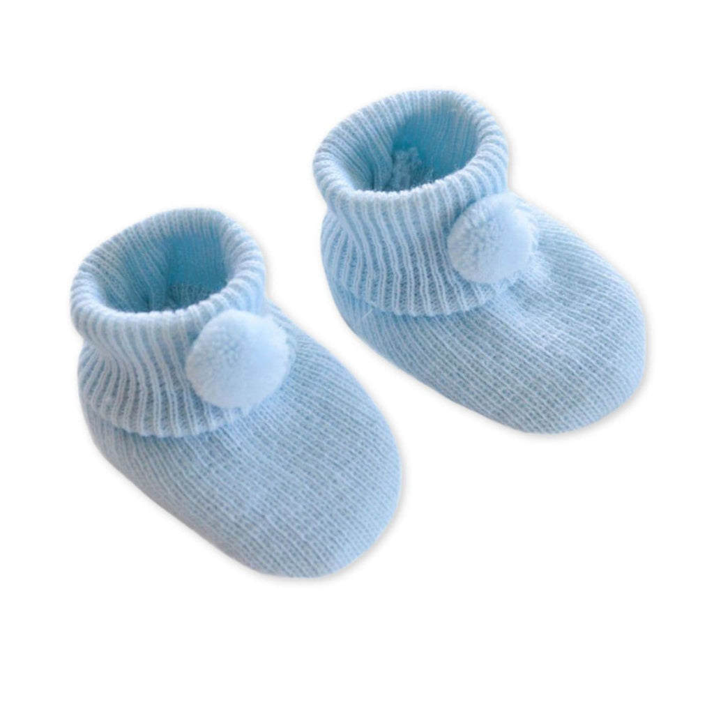 Baby Blue Knitted Booties