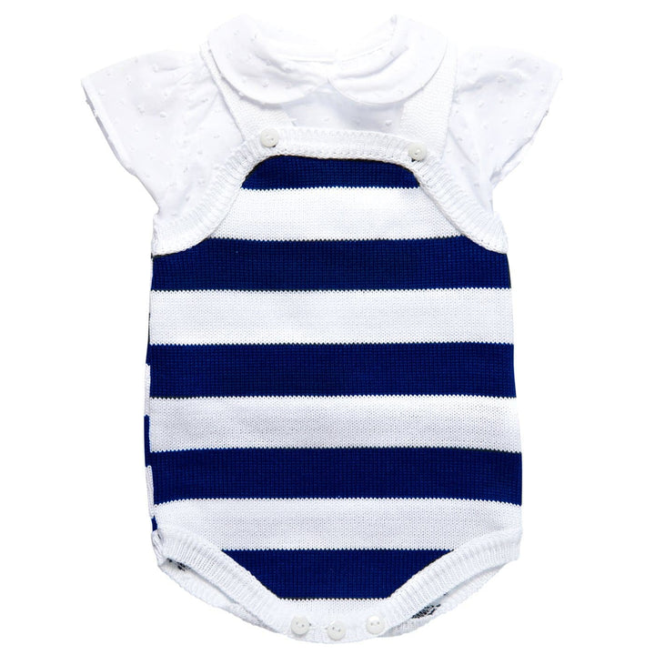BABY NAVY KNITTED DUNGAREES inc. TOP