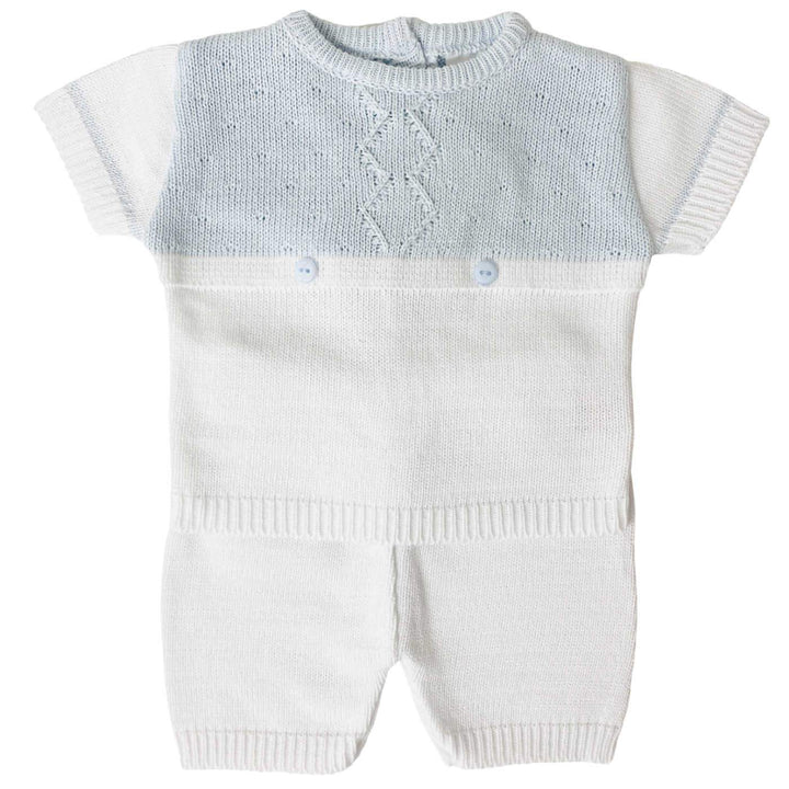 BABY BOY KNITTED OUTFIT SET in WHITE & BLUE
