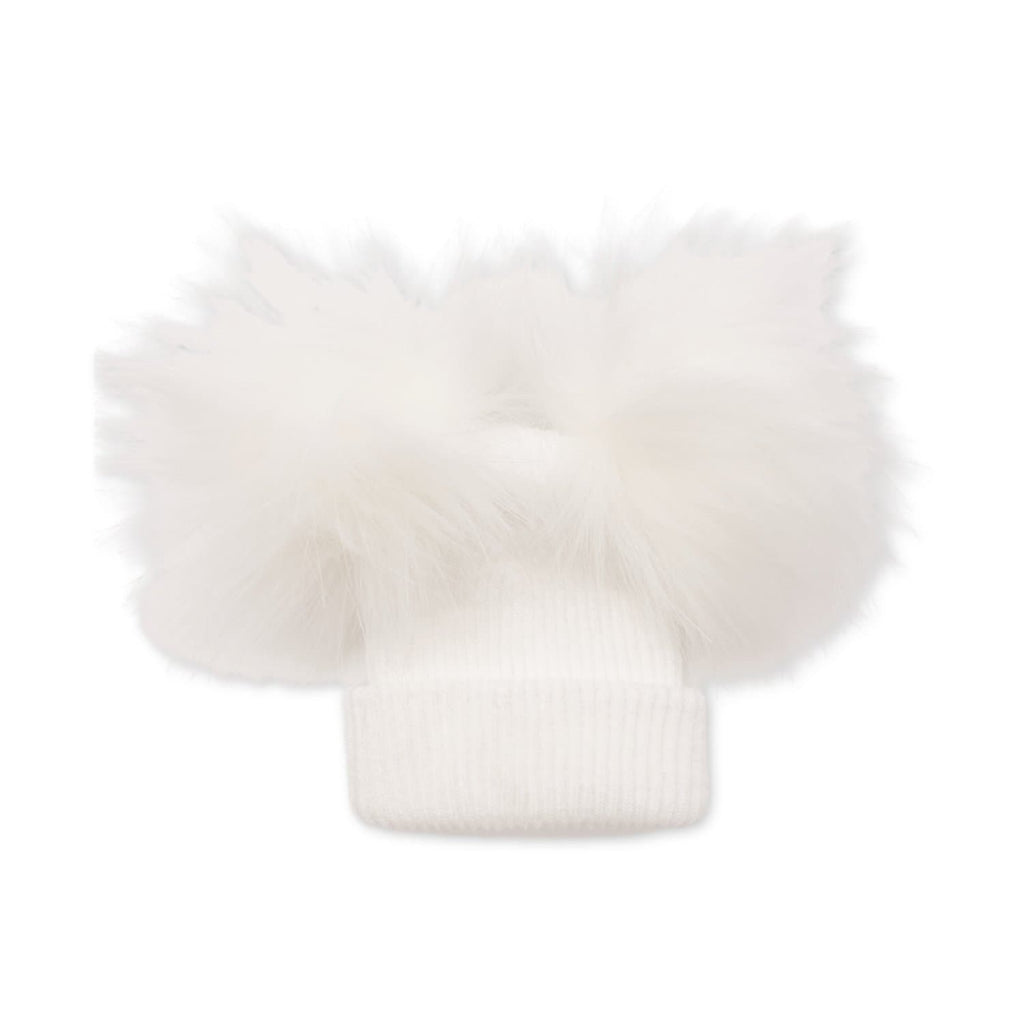 British Made Baby White Pom Pom Hat at Baby Iconic Studio UK