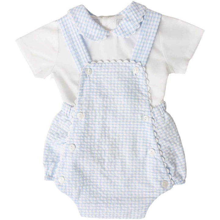 Baby Boy Blue Gingham Romper with Matching White Top