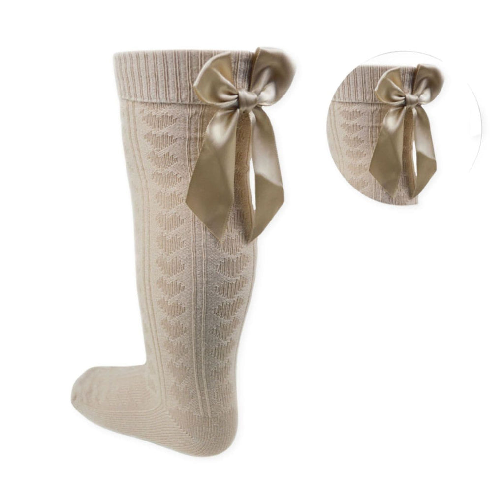 Knee High Camel Hearts Socks