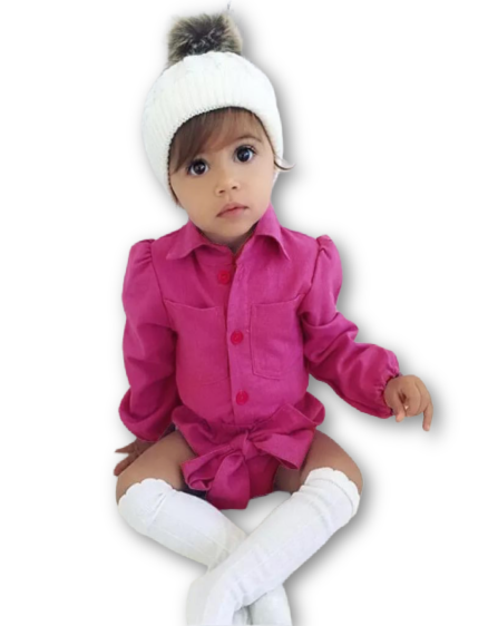 Baby Girl Velour Fuchsia Romper at Baby Iconic Studio