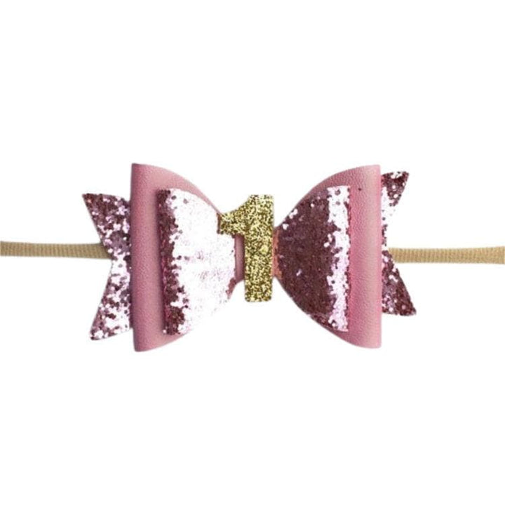 BABY GIRL 1ST BIRTHDAY GLITTER BOW HEADBAND