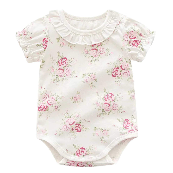 Baby Girl Floral Bodysuit with Ruffled Collar and Smocked Sleeves