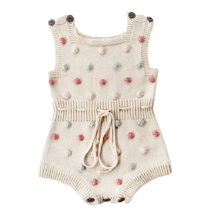 Baby Girl Beige Knitted Romper with Multicolor Bobbles