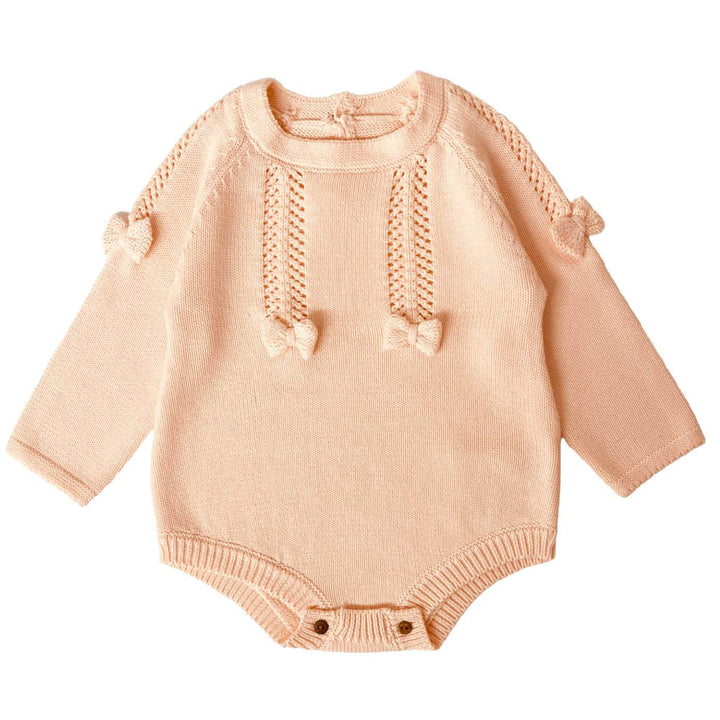 BABY GIRL KNITTED BUBBLE ROMPER