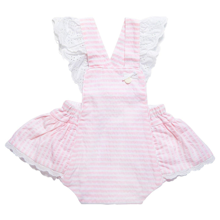 BABY GIRL PINK STRIPED ROMPER