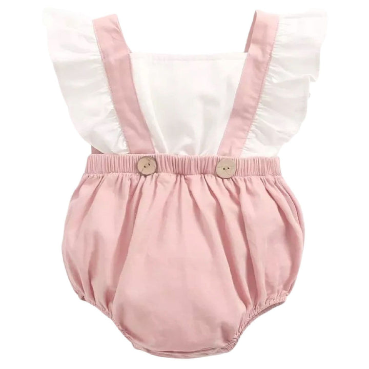 BABY GIRL PINAFORE PINK & WHITE ROMPER