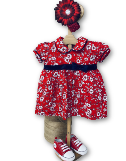 Baby Girl Red Floral Festive Dress at Baby Iconic Studio