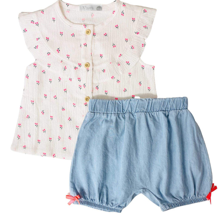 Baby Girl Summer Two Piece Outfit comprised of a Cherry Printed Top and Denim Shorts with Side Bows