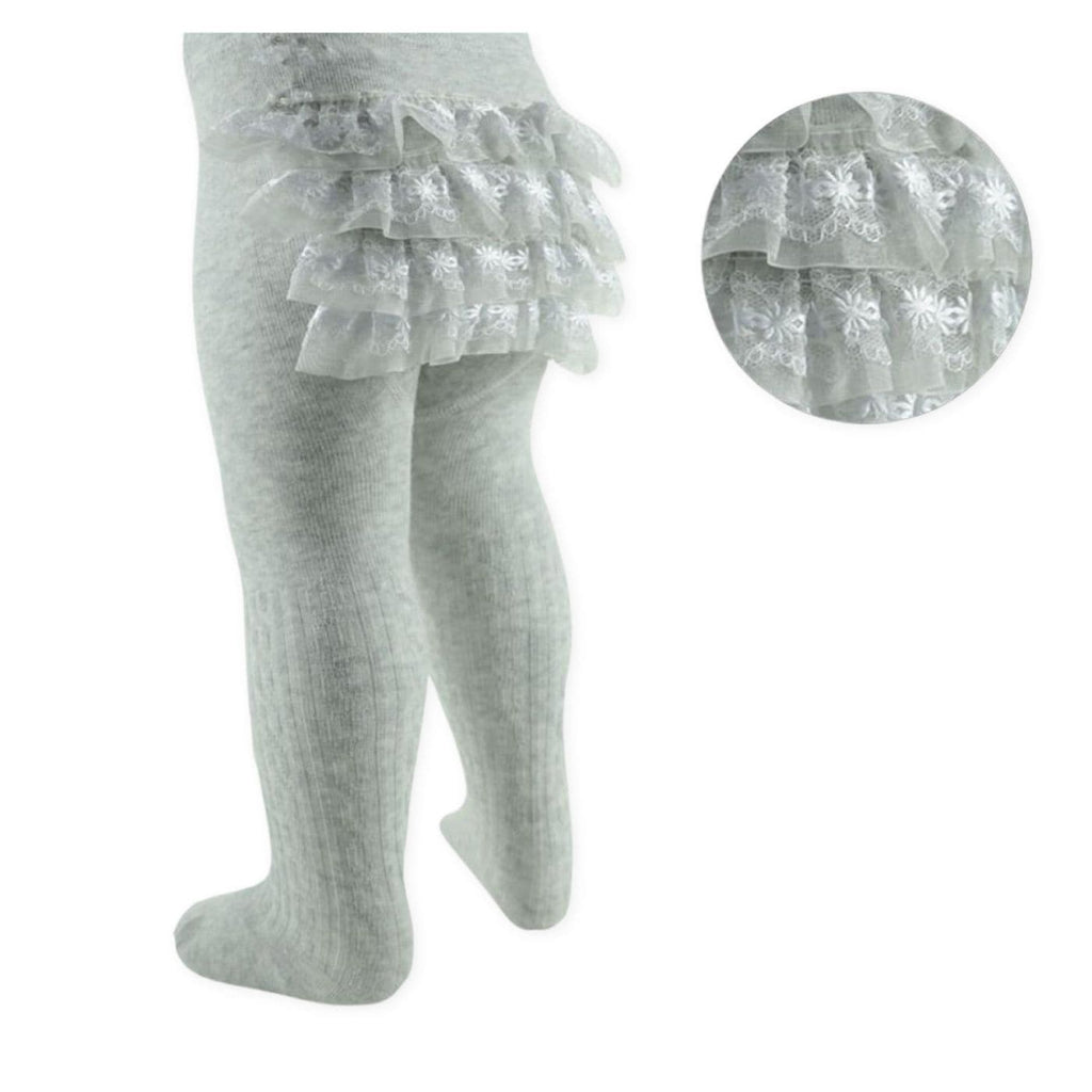 Baby Grey Frilly Bum Tights