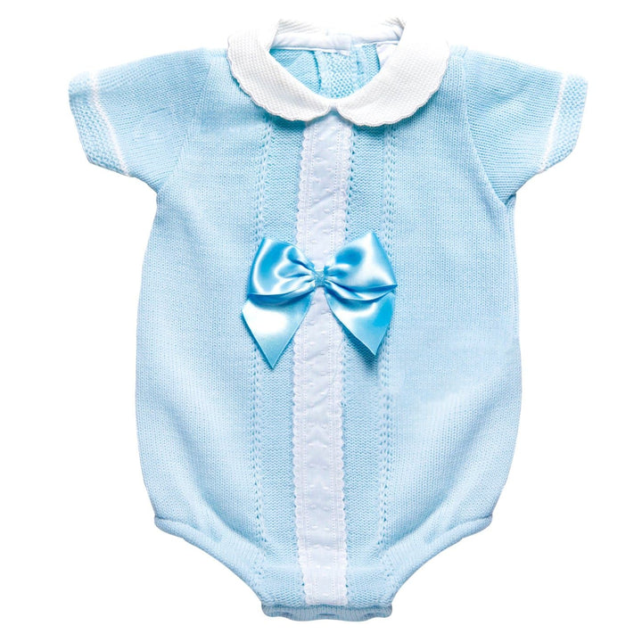 Baby Blue Knitted Romper with a Satin Bow