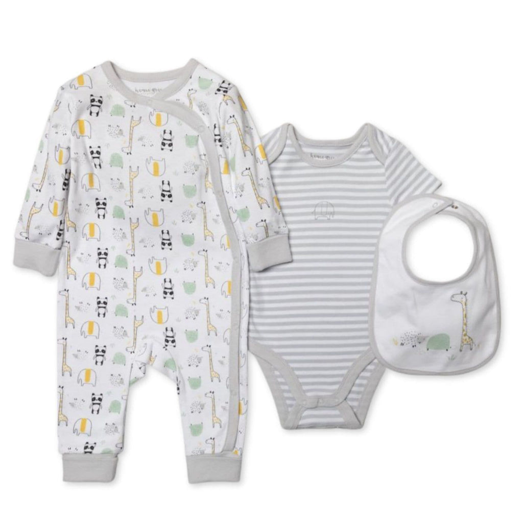 Organic cotton all in one full set with sleepsuit bodysuit bib hat and mittens