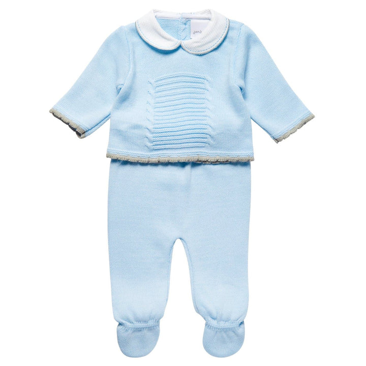 Baby Blue Knitted Outfit Set Comprised of a Jumper and a Pair of Footed Leggings