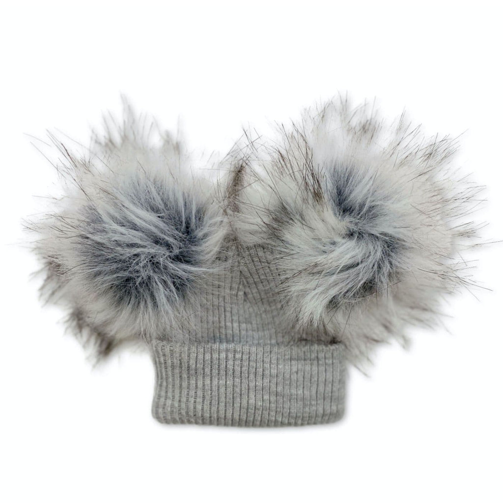 British Made Grey Pom Pom Hat