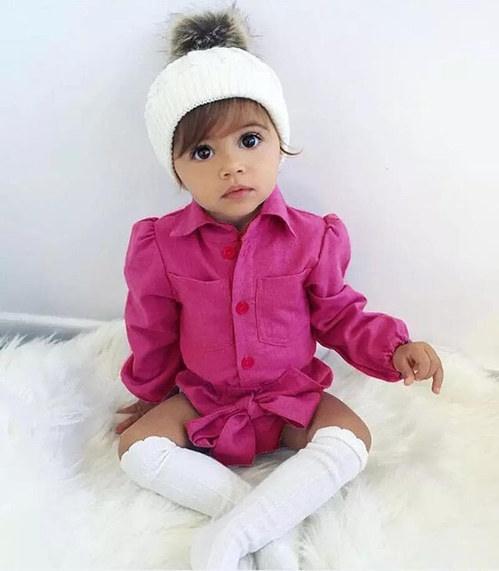Baby cotton velour pink-purple long sleeve romper with a waist bow tie belt 36 months