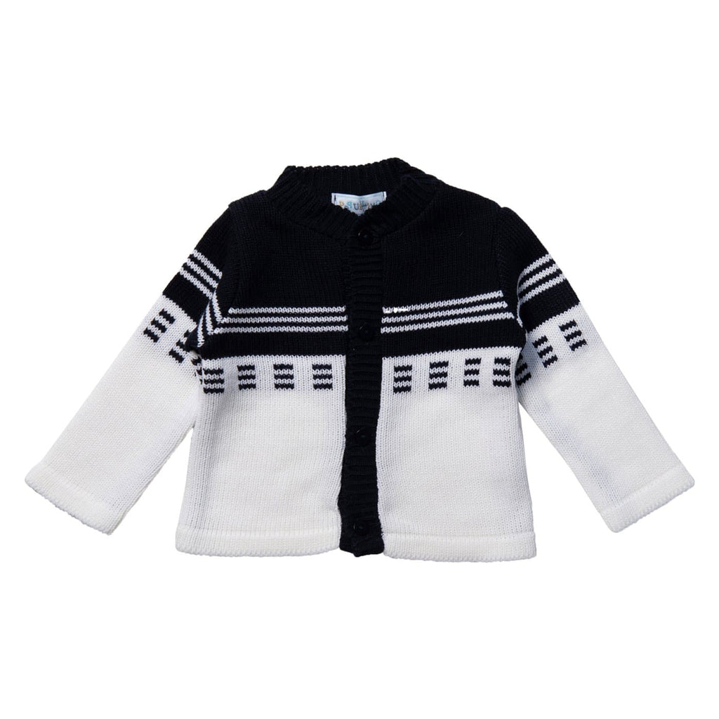 White & Navy Baby Cardigan