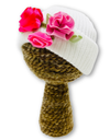 Newborn Baby Beanie Flowered Hat British Made at Baby iconic Studio UK