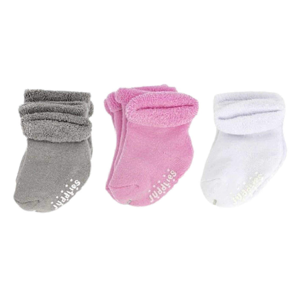 Newborn Socks in a Multipack of 6 Pairs in White Pink and grey