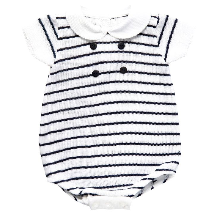 BABY STRIPED KNITTED ROMPER