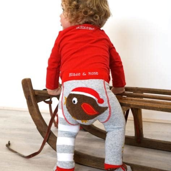 Wonderful baby friendly red robin leggings  in a lovely combination of Christmas colors .