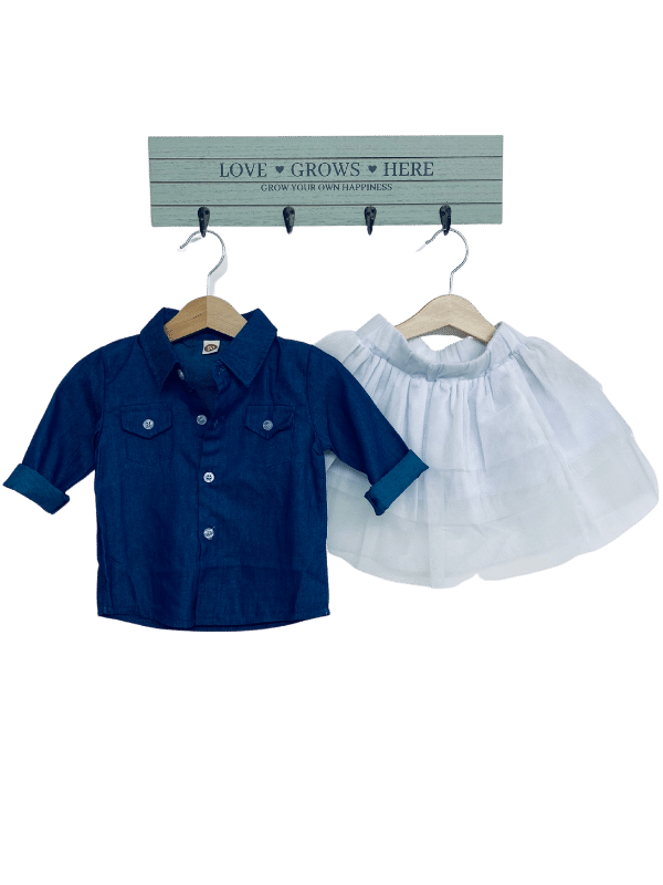 Baby girl denim outfit set