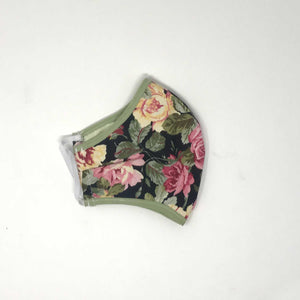 N95 Cover Roses Green Side View