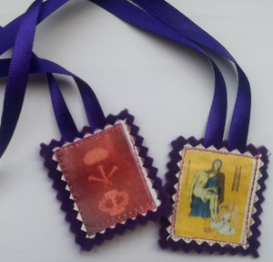 "Purple scapular small 4,5 x 4 cm ( 1.8"" x 1.6"" inch)"
