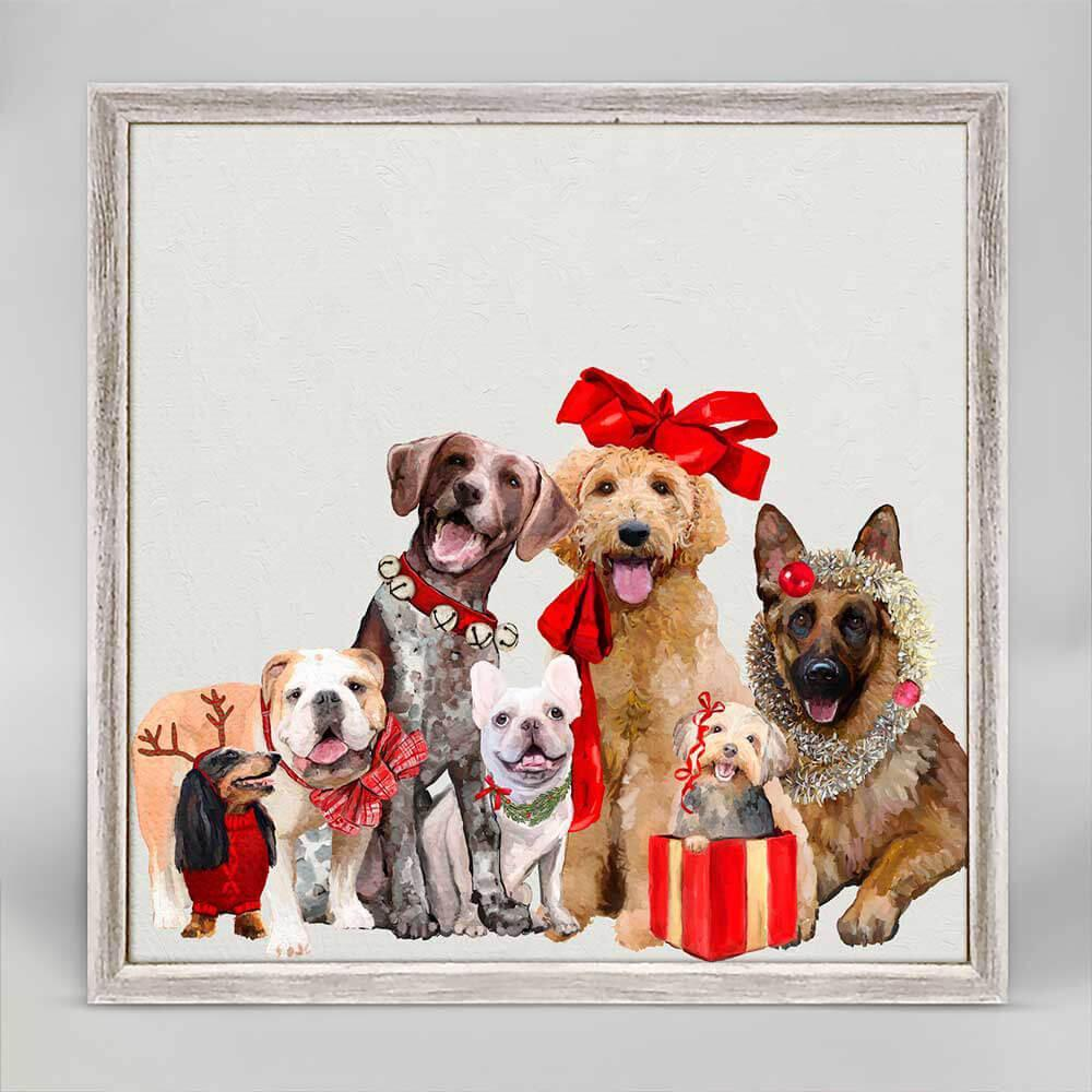 Festive Puppy Pack Mini Framed Canvas 6X6 NB99414