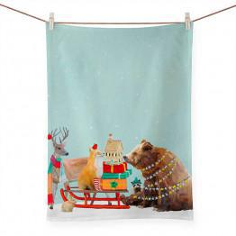 WINTER SLEIGH TEA TOWEL NB96228