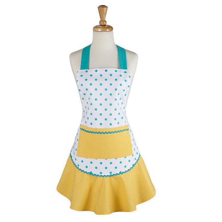 AQUA/YELLOW POLKA DOT APRON 8181