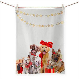 FESTIVE PUPPY PACK TEA TOWEL NB96233