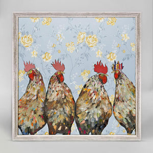 ROOSTERS FLORAL MINI CANVAS