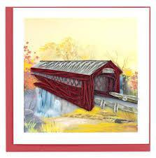 AUTUMN COVERED BRIDGE CARD QUILLING BL1184