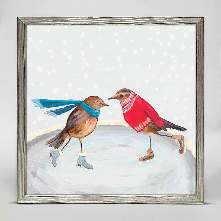 Skating Birds Mini Framed Canvas 6X6 NB84648